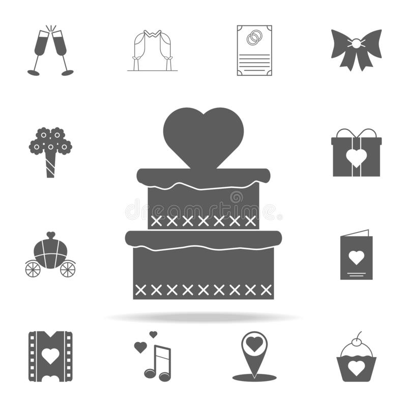 gâteau avec l'icône de coeur Ensemble universel d'icônes Romance pour le Web et le mobile illustration stock