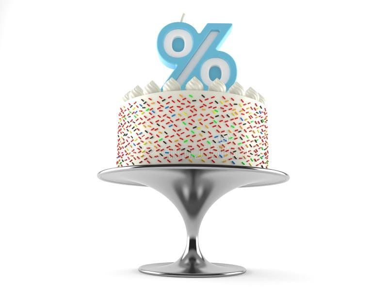 Gâteau avec la bougie de pour cent illustration libre de droits