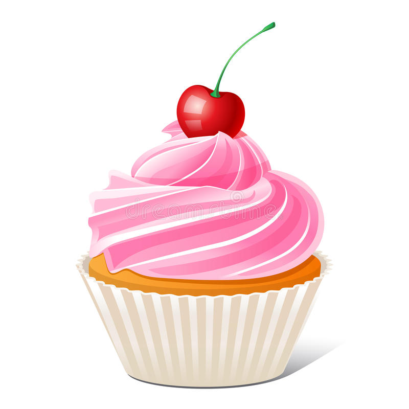 Gâteau avec la cerise illustration de vecteur