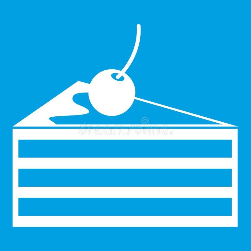 Gâteau avec le blanc d'icône de cerises illustration libre de droits
