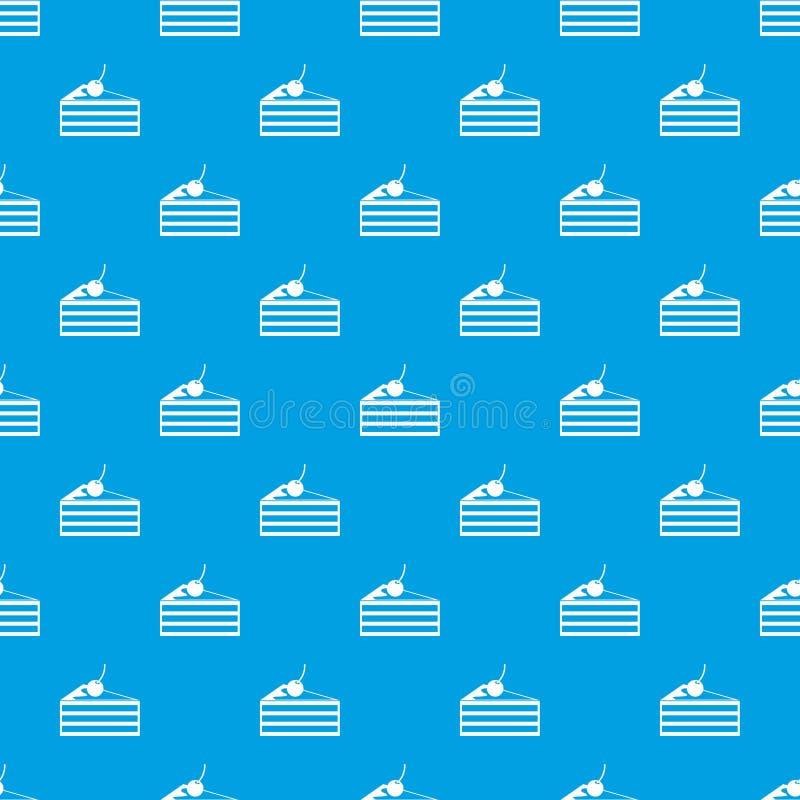 Gâteau avec le bleu sans couture de modèle de cerises illustration de vecteur