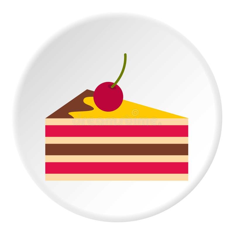 Gâteau avec le cercle d'icône de cerises illustration libre de droits