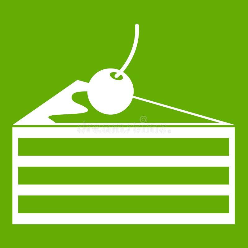 Gâteau avec le vert d'icône de cerises illustration libre de droits