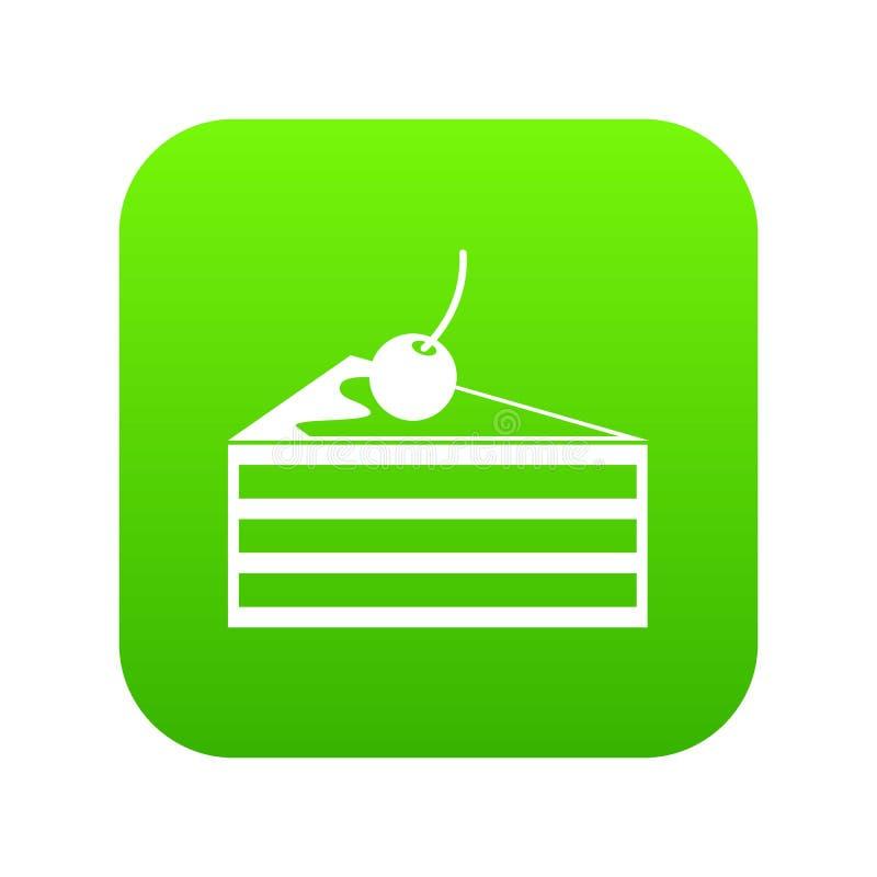 Gâteau avec le vert numérique d'icône de cerises illustration stock