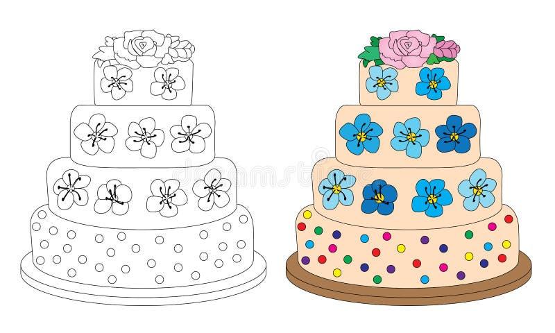 Gâteau avec les fleurs crèmes illustration de vecteur