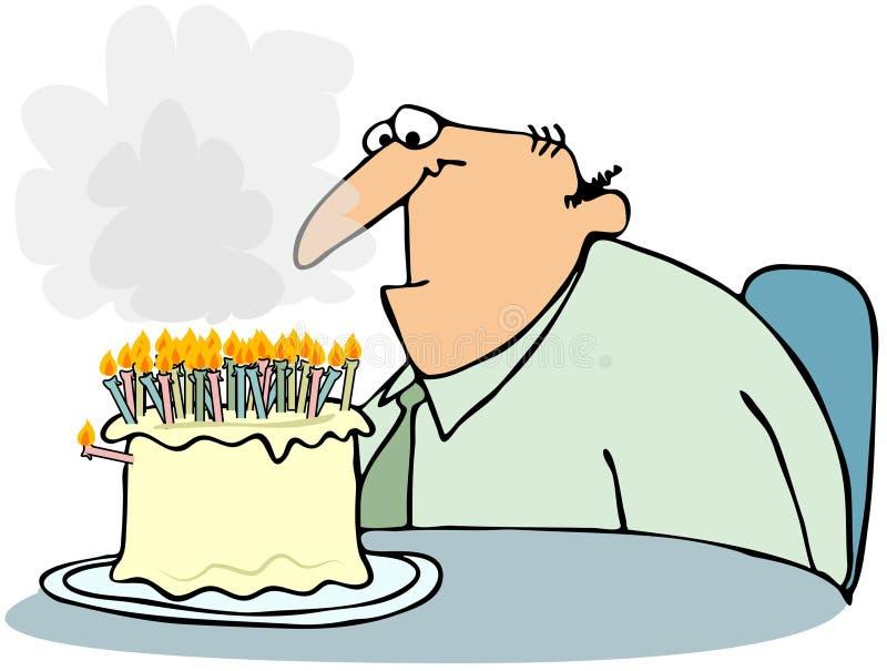 Gâteau avec trop de bougies illustration de vecteur