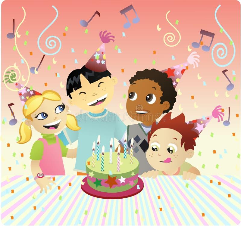 gâteau bithday heureux illustration de vecteur