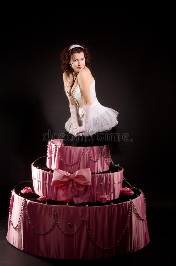 Gâteau branchant de jouet de la fille Pin-vers le haut photographie stock libre de droits
