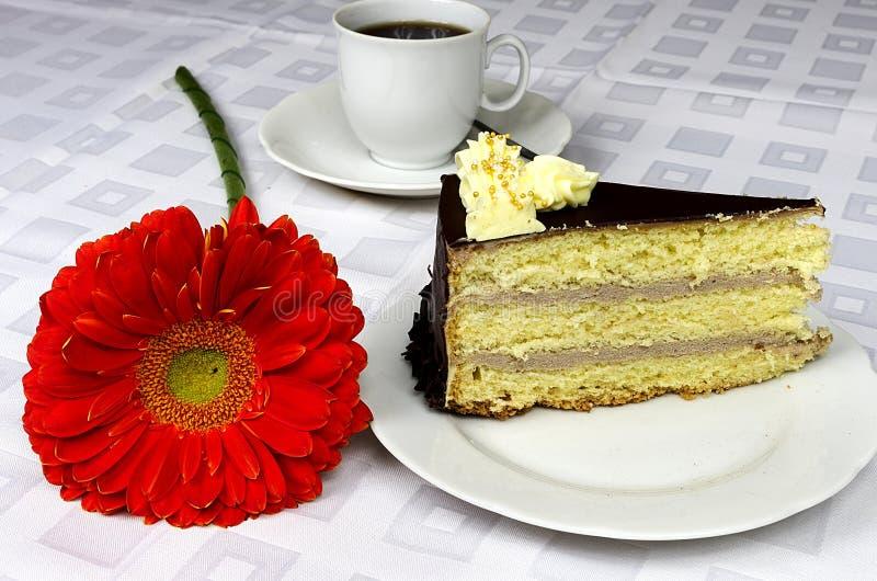 Gâteau crémeux de hocolate d'anniversaire avec le gerbera photographie stock libre de droits