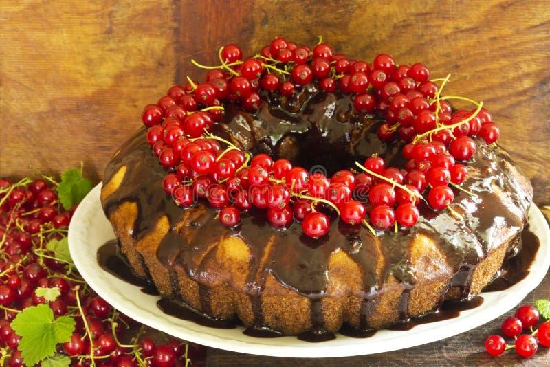 Gâteau délicieux d'anneau avec du chocolat et les groseilles rouges photographie stock libre de droits