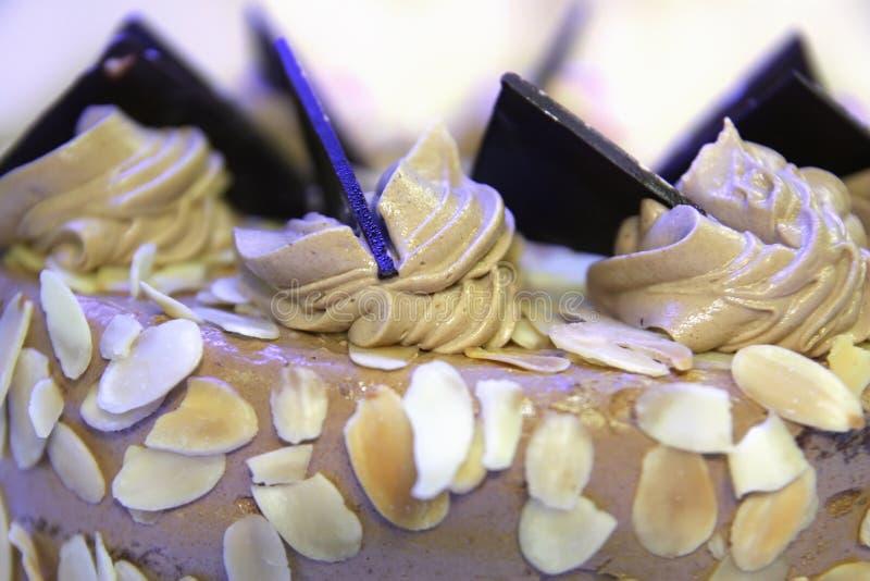 Gâteau d'amande de chocolat images stock
