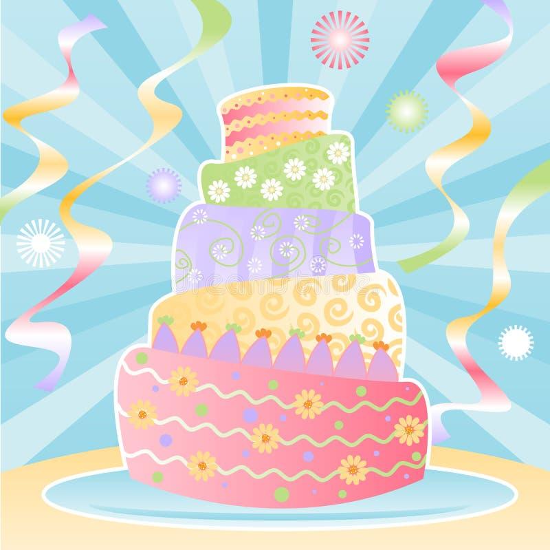 Gâteau d'anniversaire éventuel illustration de vecteur