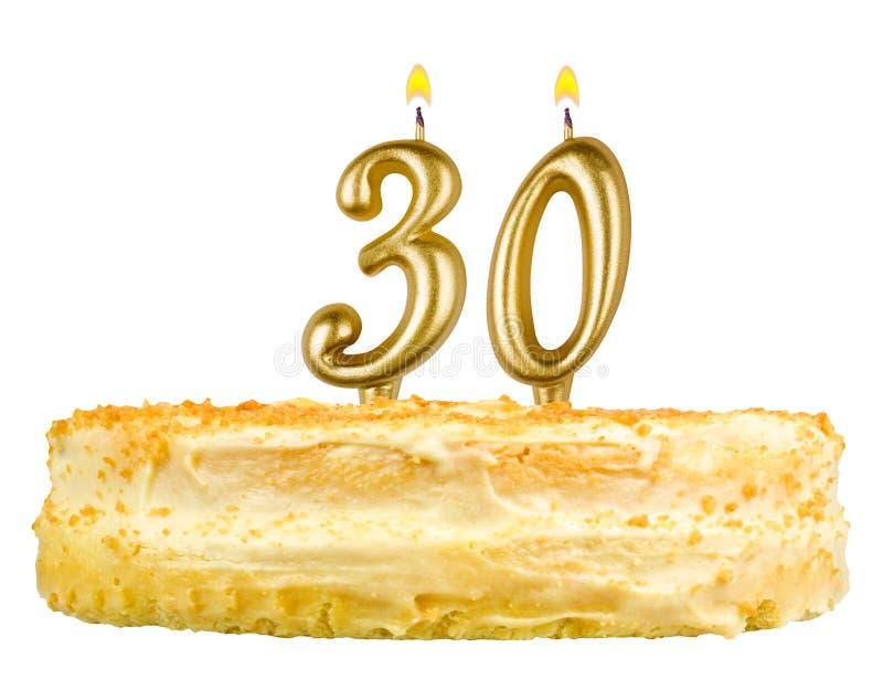 Gâteau d'anniversaire avec des bougies numéro trente photographie stock