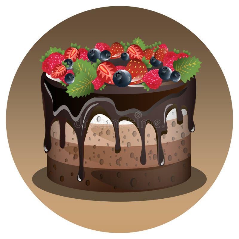 Gâteau d'anniversaire avec la baie illustration libre de droits