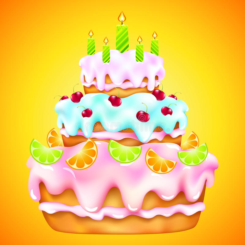 Gâteau d'anniversaire avec les cerises et l'agrume illustration de vecteur