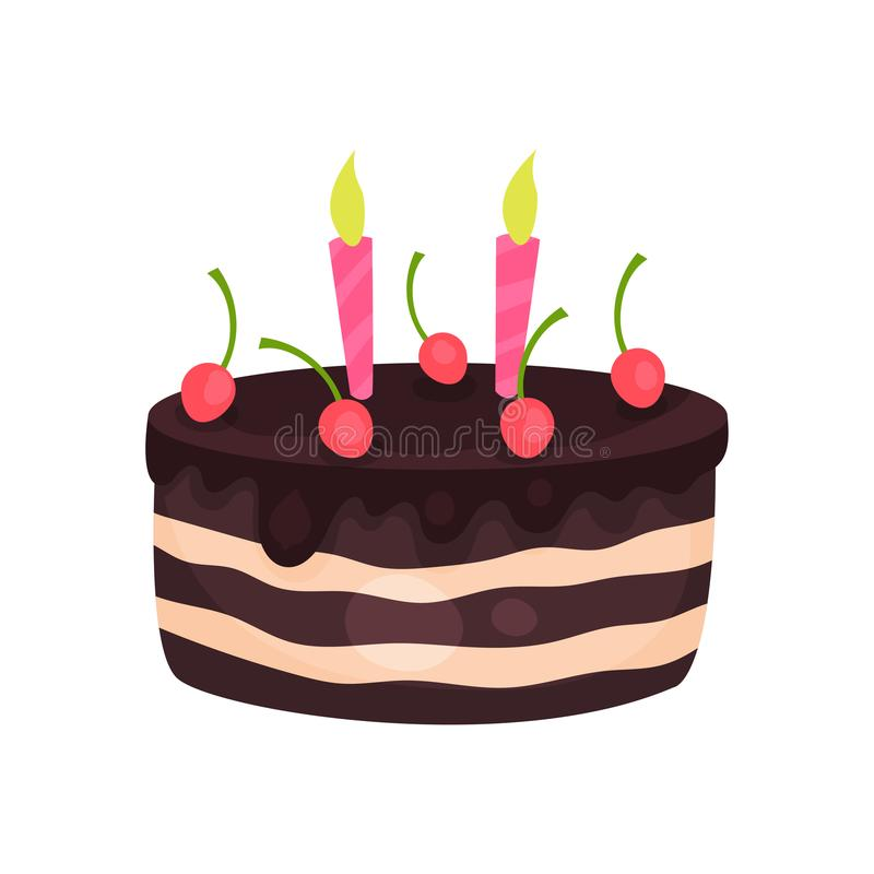 Gâteau d'anniversaire avec trois bougies brûlantes et cerises rouges Dessert savoureux de chocolat Conception plate de vecteur de illustration stock