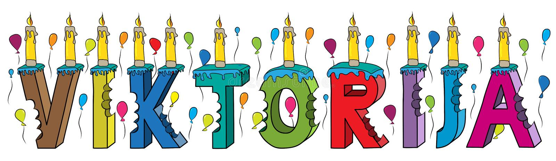 Gâteau d'anniversaire coloré mordu femelle du lettrage 3d de prénom de Viktorija avec des bougies et des ballons illustration de vecteur