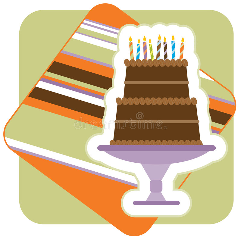 Gâteau d'anniversaire de chocolat illustration stock