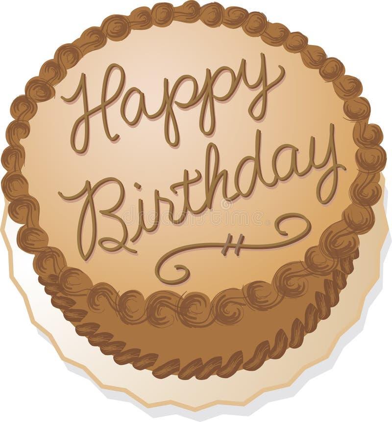 Gâteau d'anniversaire de chocolat illustration de vecteur