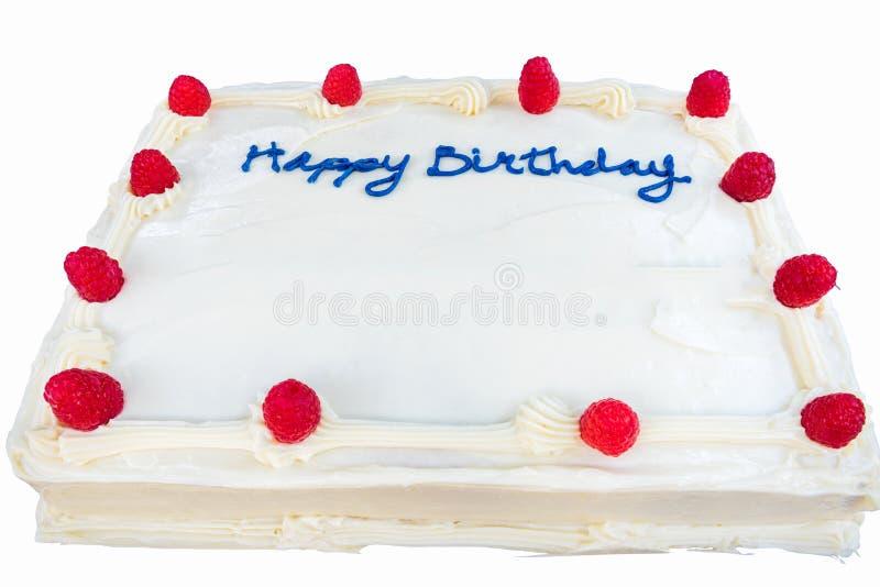 Gâteau d'anniversaire de framboise avec le givrage blanc d'isolement image libre de droits