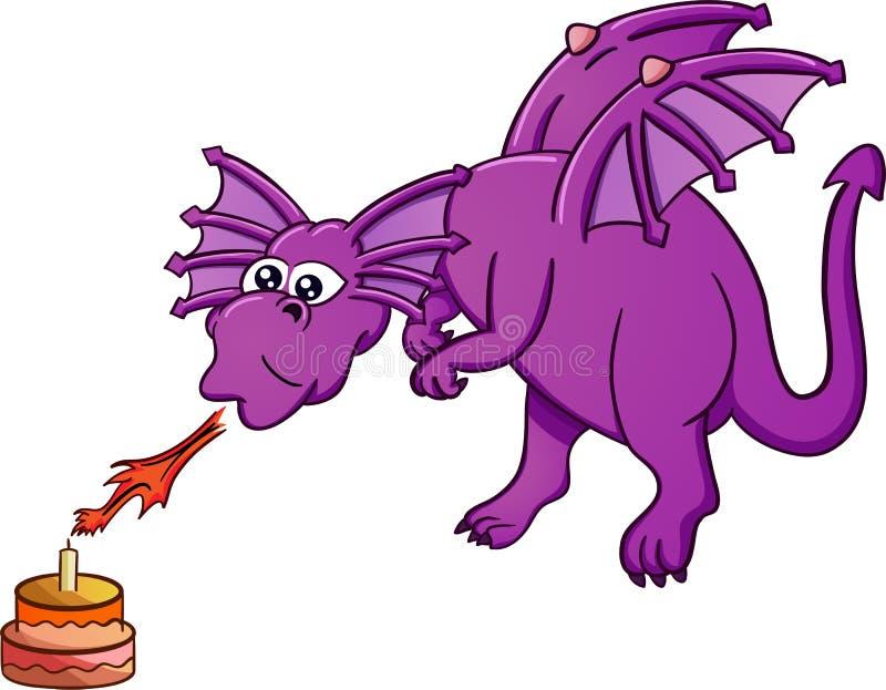 Gâteau d'anniversaire de soufflement de dragon avec le feu illustration libre de droits