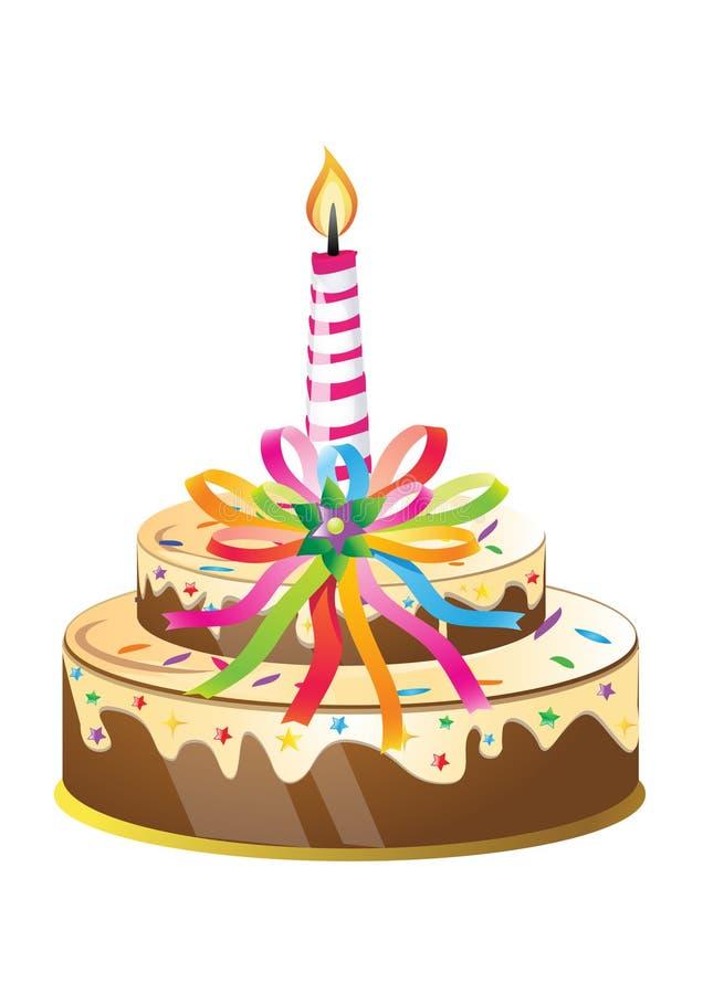 Gâteau d'anniversaire et bougie illustration stock