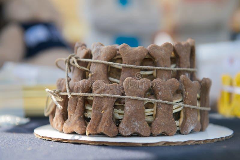Gâteau d'anniversaire pour des chiens photographie stock