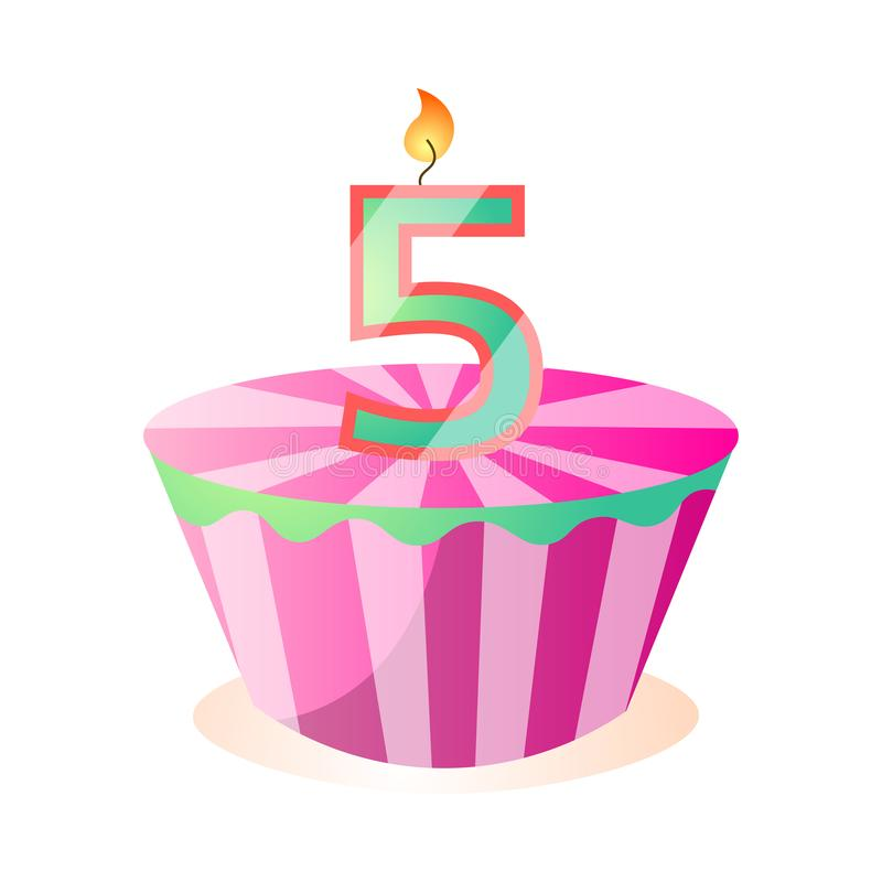 Gâteau d'anniversaire savoureux rayé de rose, cinq ans illustration stock