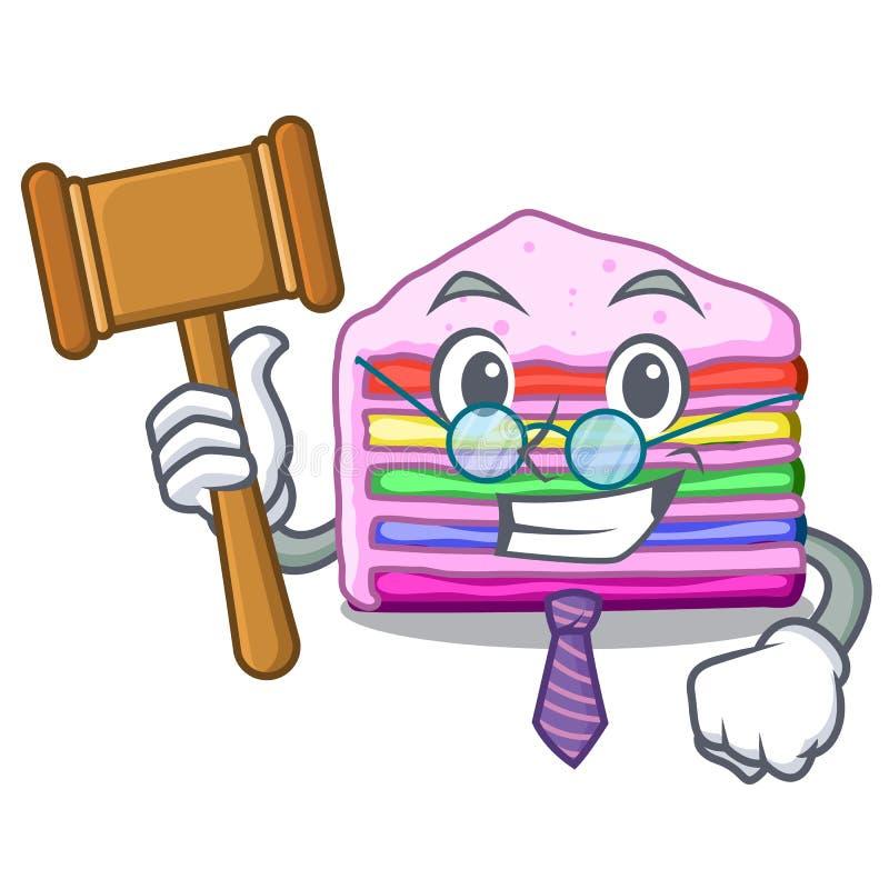 Gâteau d'arc-en-ciel de juge dans le placard de mascotte de glace illustration libre de droits