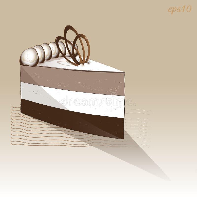 Gâteau d'une seule pièce de soufflé de chocolat illustration stock