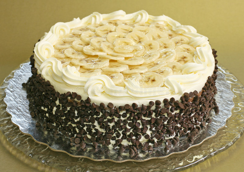 Gâteau de banane de puce de chocolat photo stock
