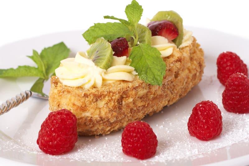 Gâteau de bateau de fruit avec des framboises photographie stock libre de droits
