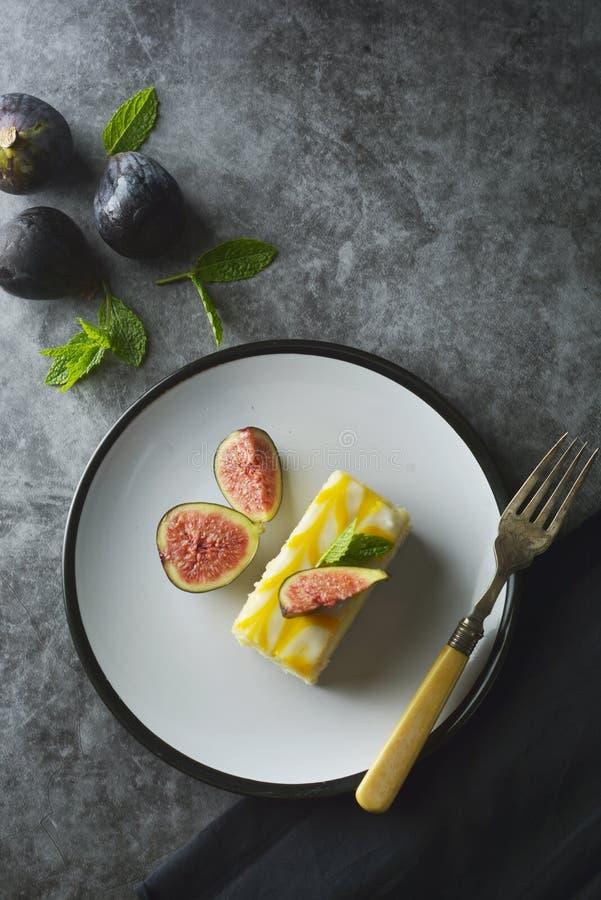Gâteau de bruine de citron, dessert de gâteau de croûte de citron photographie stock