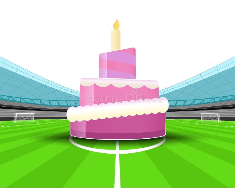 Gâteau de célébration dans la zone centrale du vecteur de stade de football illustration libre de droits