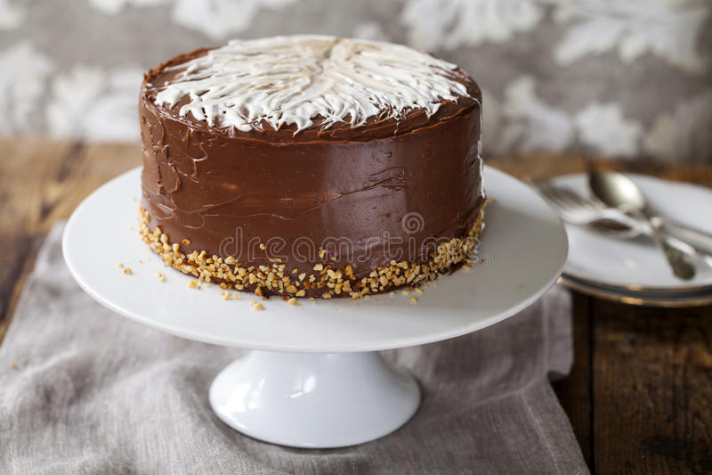 Gâteau de café et de noisette images libres de droits