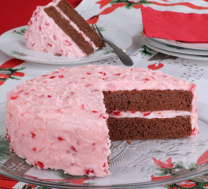 Gâteau de cerise de chocolat photographie stock