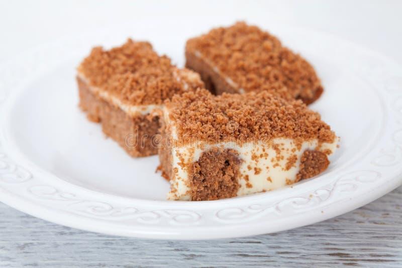 Gâteau de chocolat avec le pudding de vanille images libres de droits