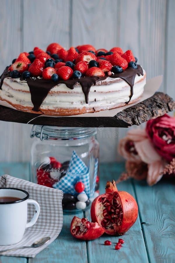 Gâteau de chocolat avec les baies et la menthe sur le support photographie stock libre de droits