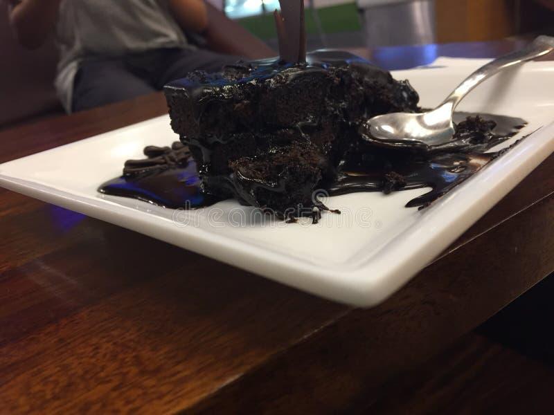 Gâteau de chocolat chaud photo stock
