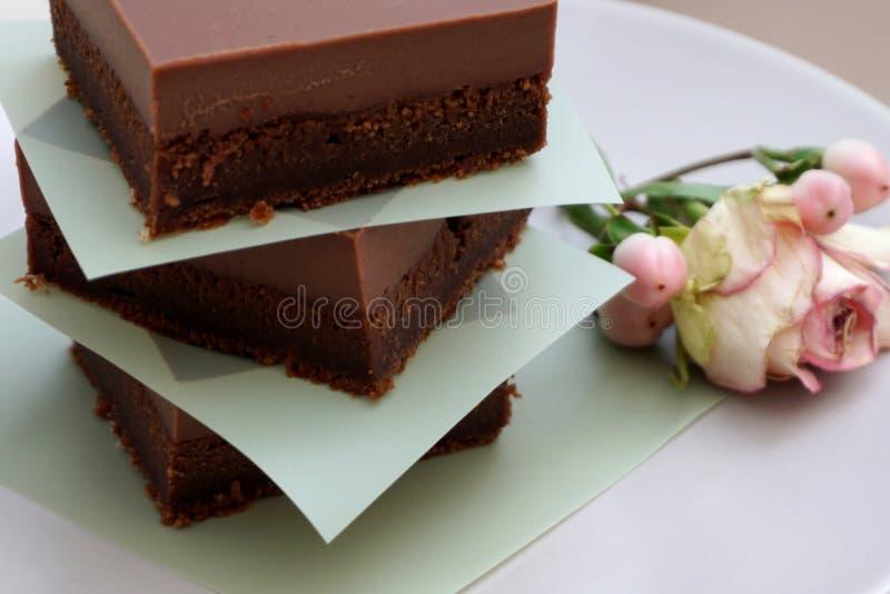 Gâteau de chocolat couvert de la crème fondue et délicieuse crémeuse de cacao pleine du goût aromatique riche image libre de droits