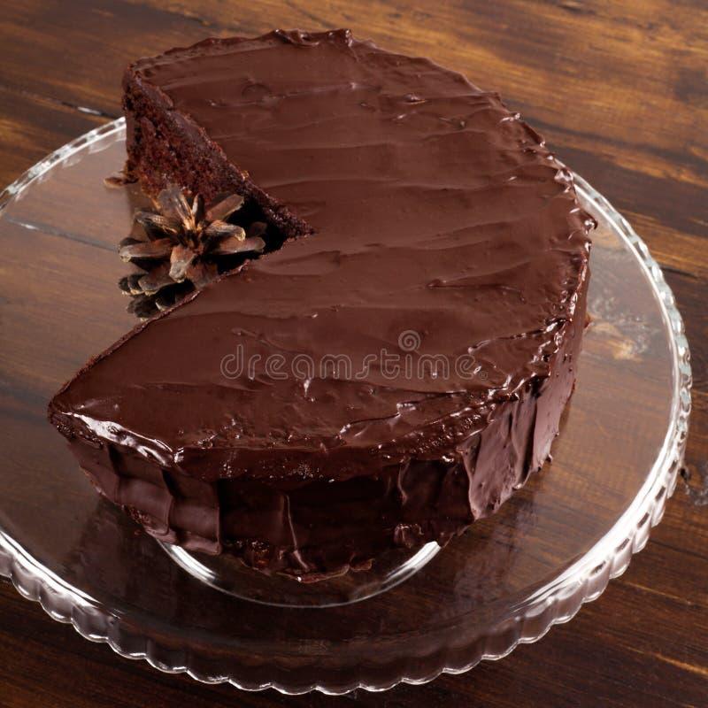 Gâteau de chocolat délicieux de Sacher photos stock