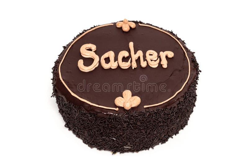 Gâteau de chocolat délicieux de Sacher d'isolement sur le fond blanc image stock