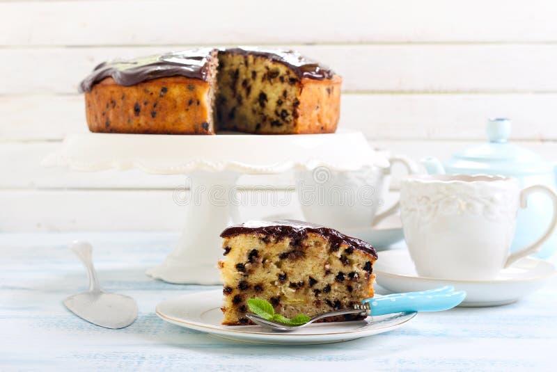 Gâteau de chocolat de banane photos libres de droits