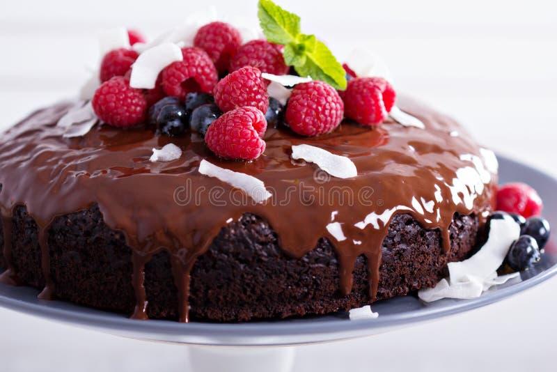 Gâteau de chocolat de Vegan image libre de droits