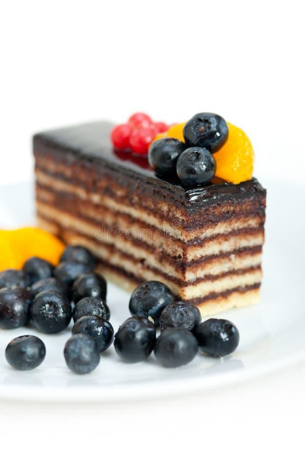 Gâteau de chocolat et de fruit photo libre de droits