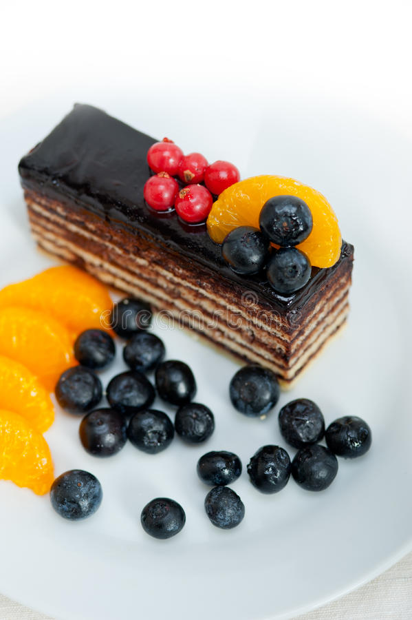 Gâteau de chocolat et de fruit photographie stock libre de droits