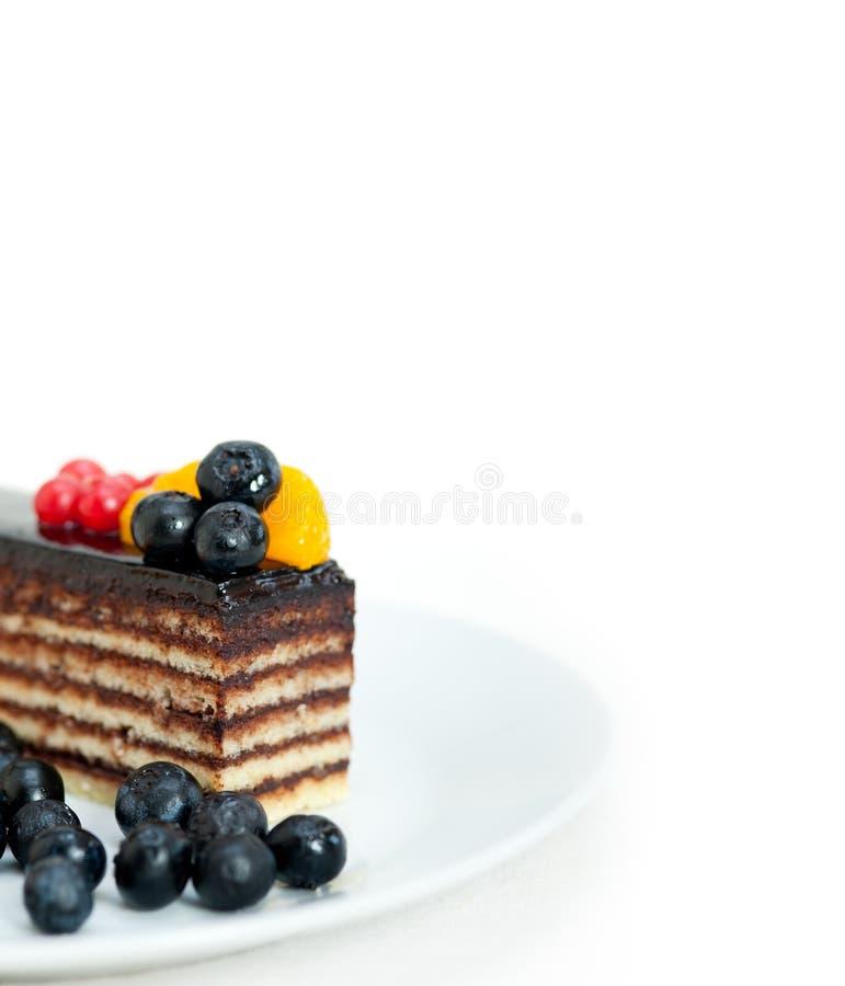 Gâteau de chocolat et de fruit photos stock