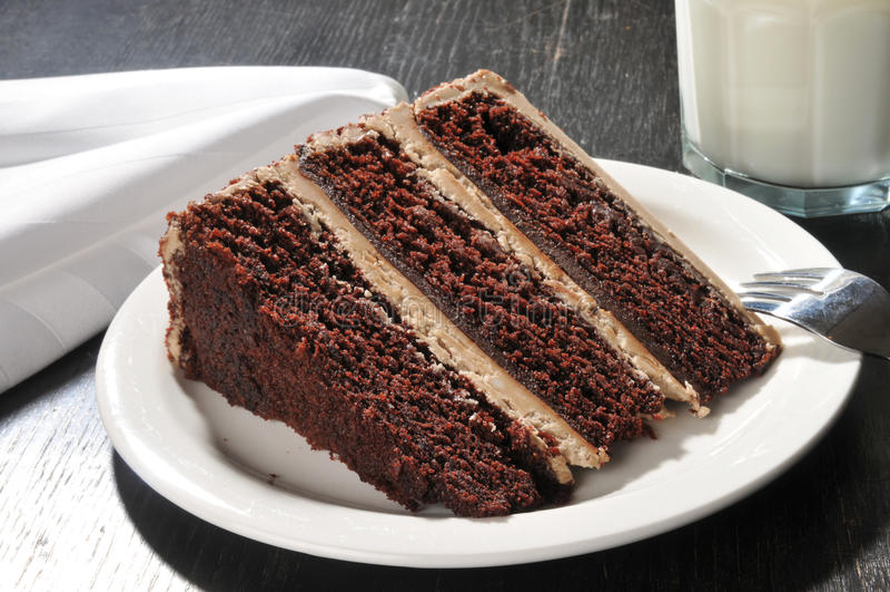 Gâteau de chocolat gastronome avec du lait image stock
