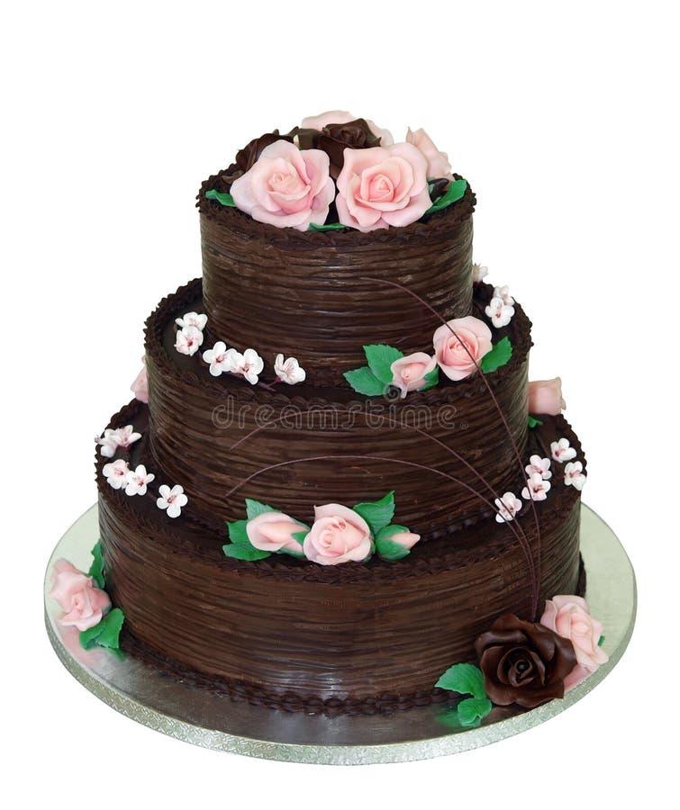 Gâteau de chocolat trois à gradins photos libres de droits