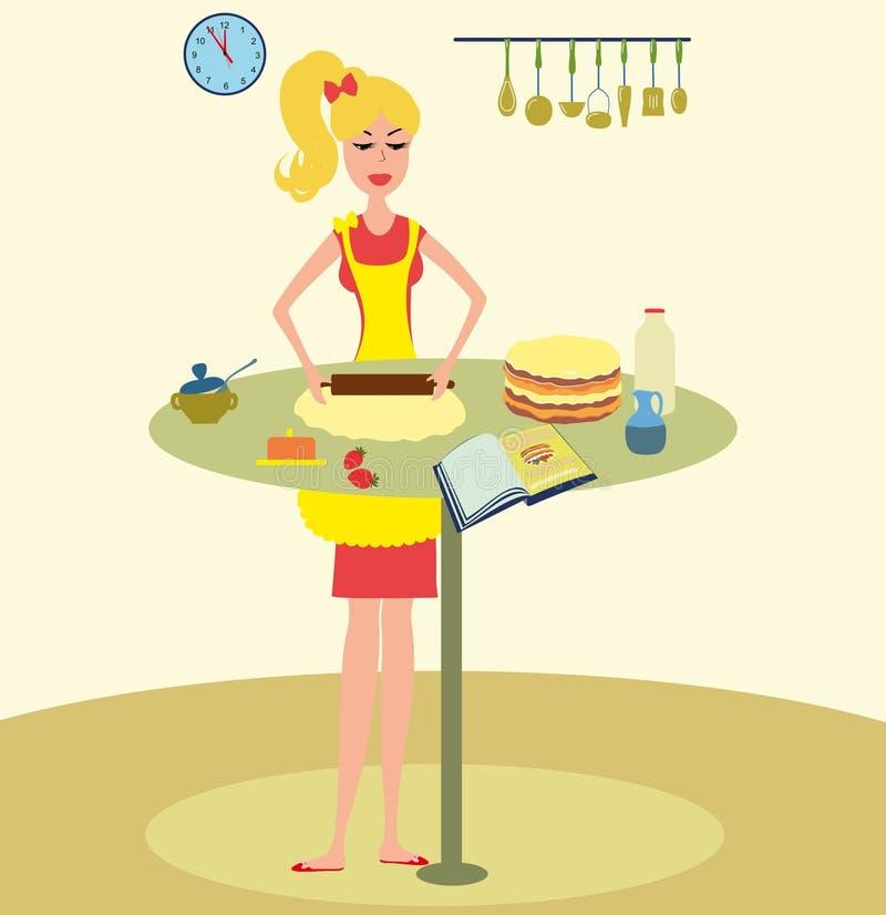 Gâteau de cuisson de femme dans l'illustration de vecteur de cuisine illustration stock